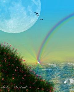 Rainbow's Edge http://fineartamerica.com/products/rainbows-edge-lora-mercado-canvas-print.html