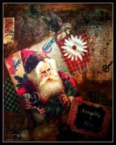 Naughty or Nice - Santa Collage Print